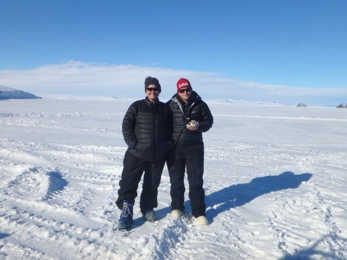 Denise and Anne in front of Mt. Erebus