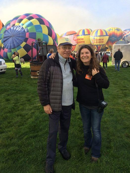 Amy Osborne and her dad at the hot air balloon fiesta.