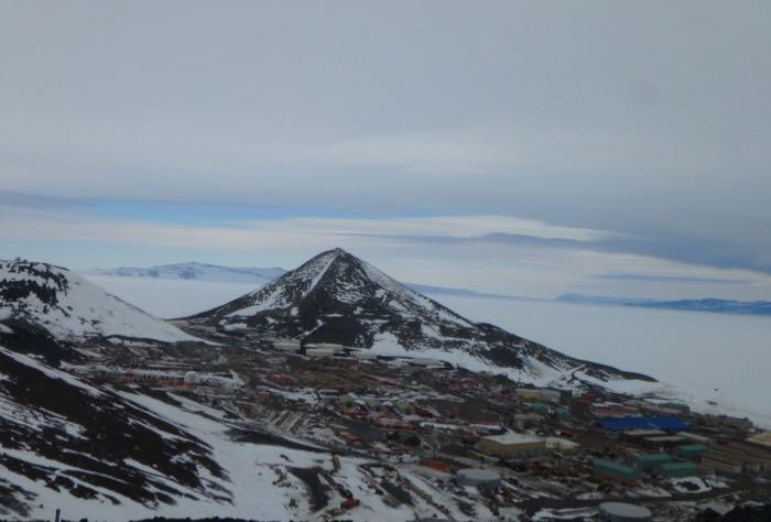 A view of the buildings and mountains in and around McMurdo Station