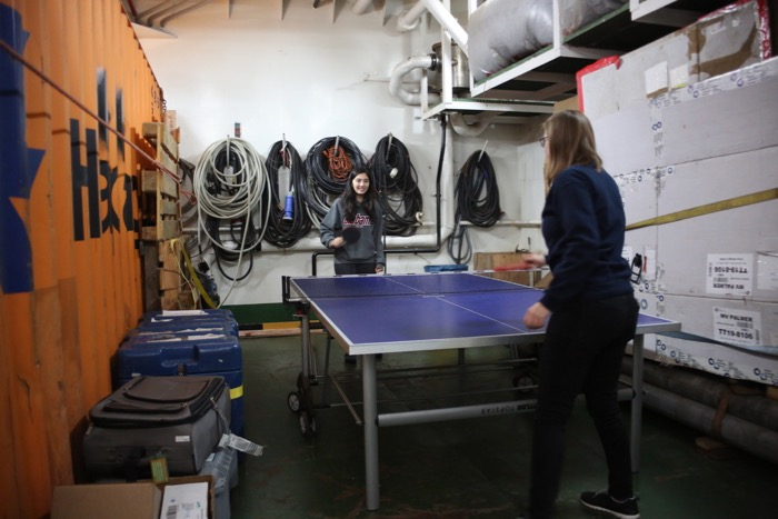 Ping pong in the helo hangar