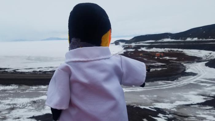 Benjamin from 'Jargie the Science Girl!' looking at the ice