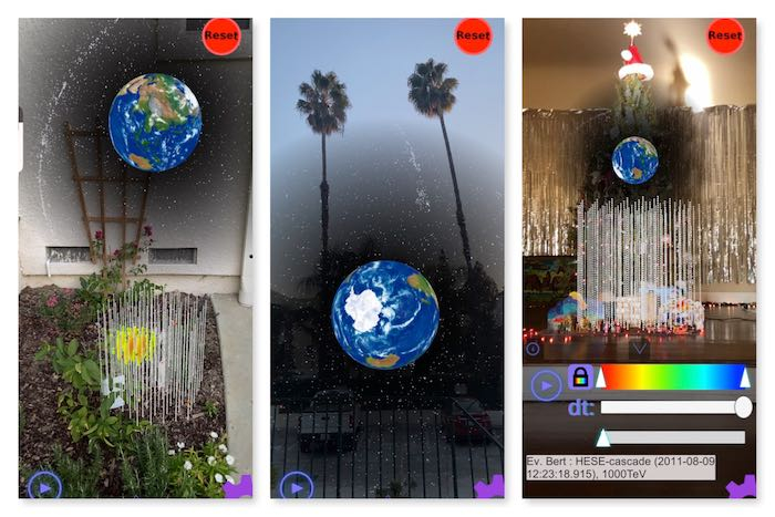 Three photos showing the IceBear app in use in a garden, in front of palm trees, and in front of a Christmas Tree.