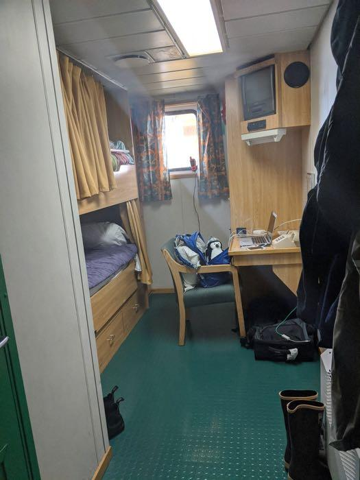 A typical bedroom aboard the R/V Nathaniel B. Palmer icebreaker