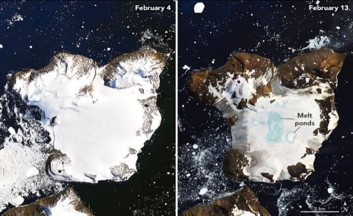 NASA images of Eagle Island, Antarctica on February 4 and February 13, 2020