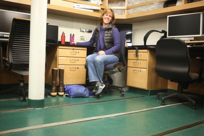 Sarah Slack at her work space on the Nathaniel B. Palmer
