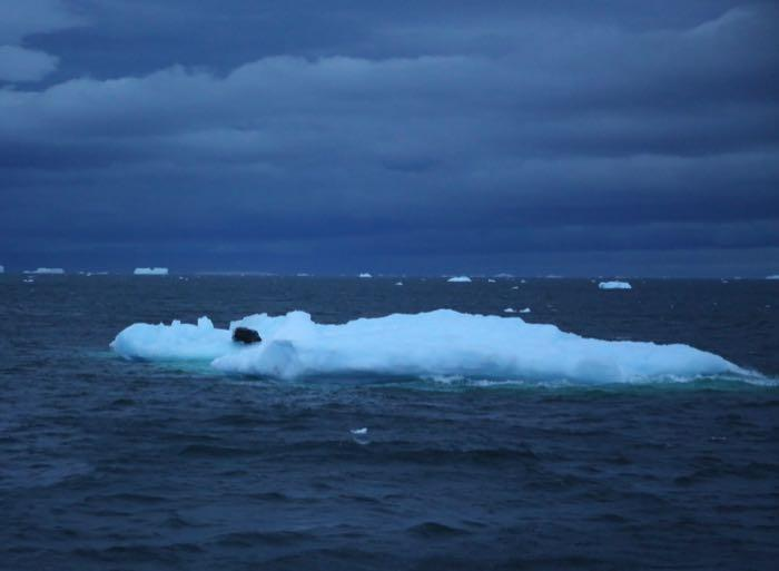 Ice rafted debris floats by the R/V Nathaniel B. Palmer icebreaker