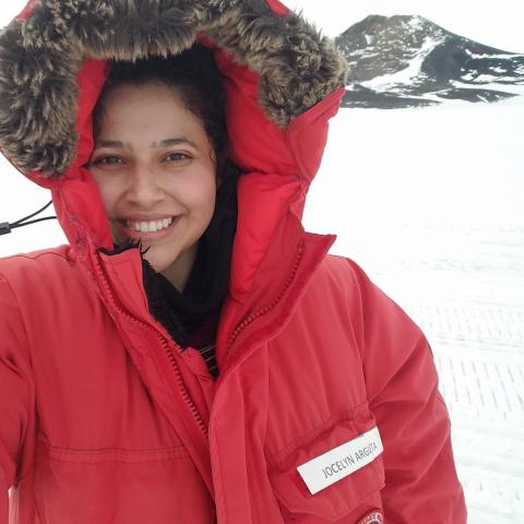 Jocelyn Argueta on the Ross Ice Shelf
