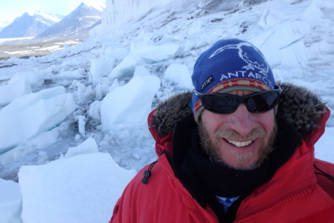 Kevin Dickerson at the toe of the Commonwealth Glacier, Taylor Valley, Antarctica.
