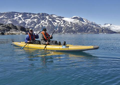 Joe Super and Bill Schmoker sea kayaking in Skoldungensund, Greenland