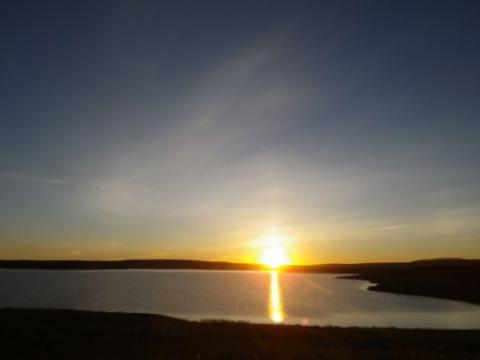 Midnight sun over Toolik Lake.
