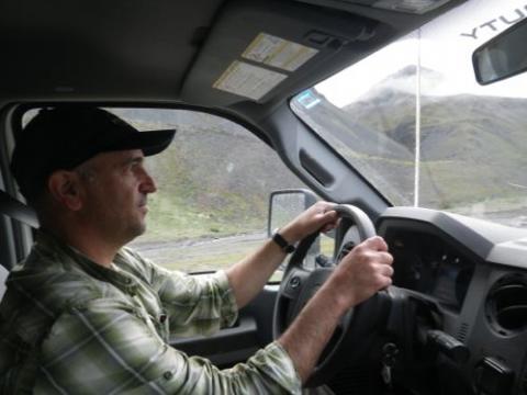 Driving the Dalton Highway over Atigun Pass.