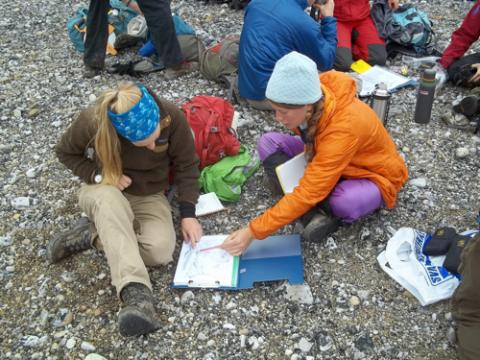 Helena and Lauren getting ready to map