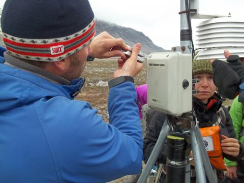 Servicing the weather station