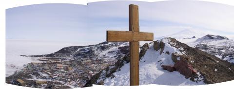 Scott's cross above McMurdo Staion
