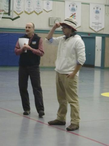 Principal Todd invites the whole school to sing Happy Birthday to Mr. Joe