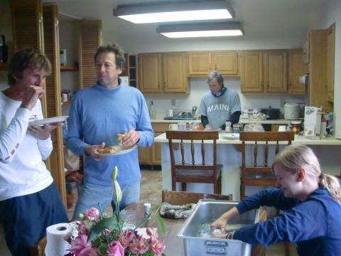 Ted and John observe Stephanie's Techni-Ice hydration skills.
