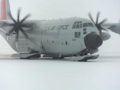 Ski-equipped C-130 preparing to take-off