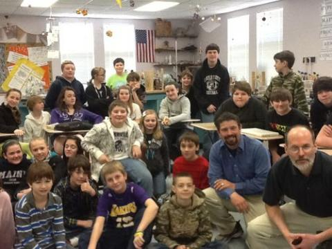 Researcher Campbell visits his K-8 elementary school, Nobleboro, Maine