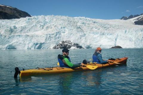 Lauren and Ethan sea kayaking