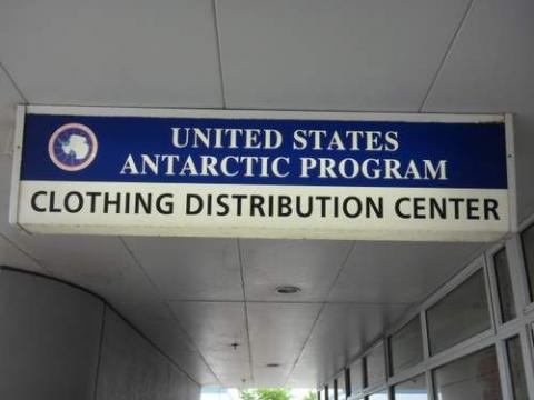 United States Antarctic Program Clothing Distribution Center sign