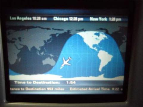Flight path screen on the Quantas flight