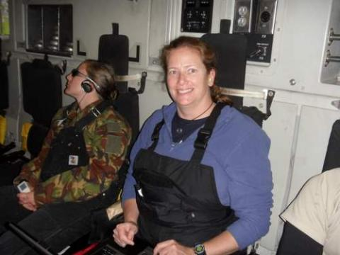 Lesley on the C-17 flight to Antarctica
