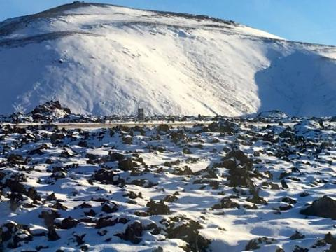 Iceland rocks and snow.