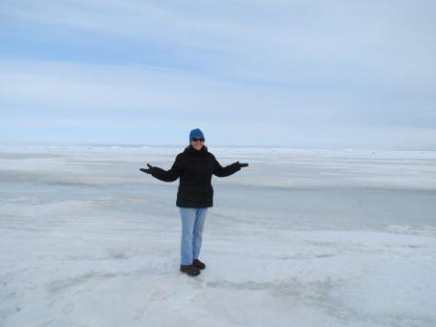 Lisa Seff standing on the Arctic Ocean sea ice edge in Barrow Alaska.