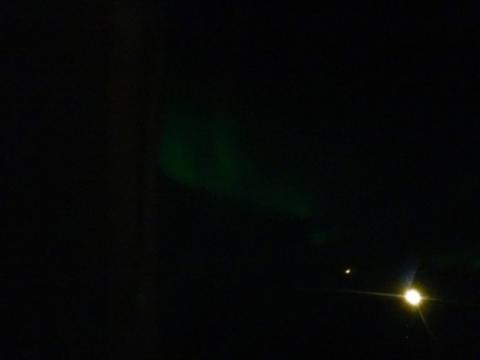 Aurora seen flying into Fairbanks Alaska.