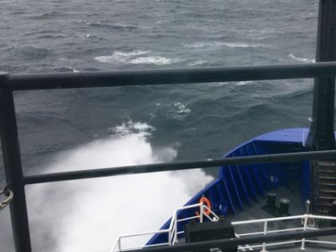 Rough seas off the bow of the R/V Sikuliaq! September 6, 2017.