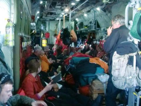Inside of a packed C-130