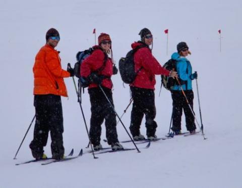 G-063 skiing near Scott Base. Photo by Justin Lawrence.