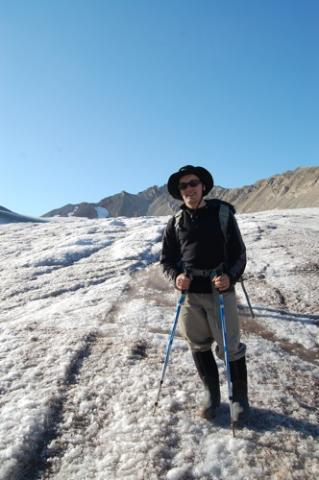 Standing on the Vestre Lovenbreen glacier.
