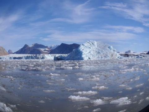 Kronebreen glacier - choked with ice