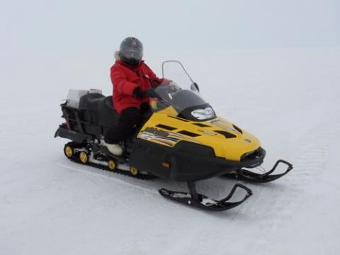 Michelle on the snowmobile