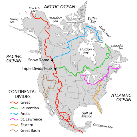 Map of the Continental Divides in North America. CREDIT: Pfly on Wikipedia Commons
