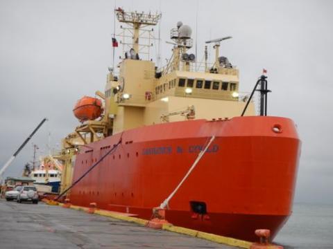 Antarctic Research Vessel Laurence M. Gould docked in Punta Arenas