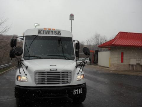 Activity bus in snow flurries