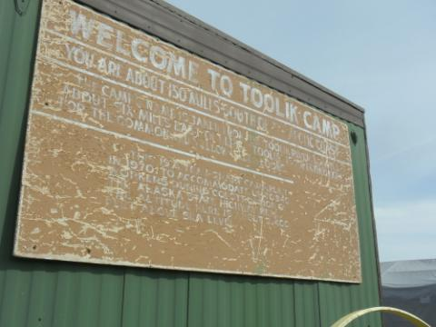 Old historic looking Welcome to Toolik Field Camp sign