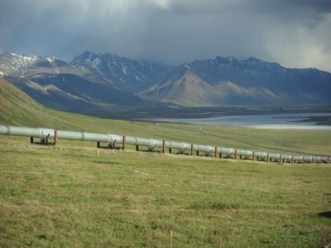 pipeline with mountain backdrop, near PS 4 on Dalton Highway
