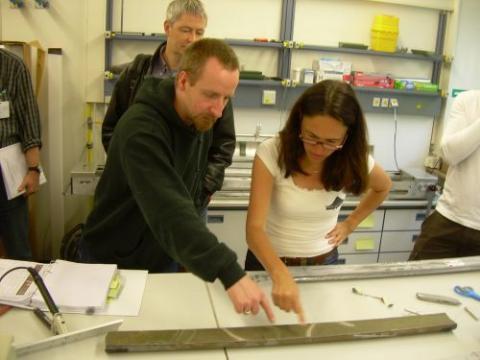 Examining lake core