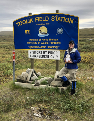 Kate Steeper at Toolik Field Station entrance
