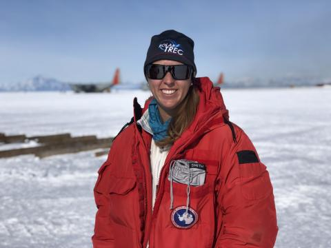 PolarTREC teacher, Lesley Anderson, waits for her flight to the South Pole.