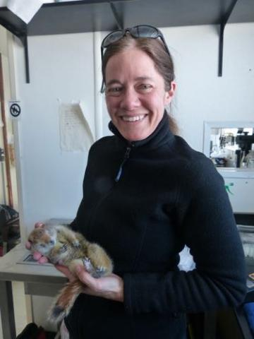 Jennifer Baldacci with squirrel.