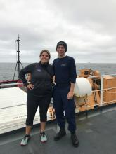 Piper Bartlett-Browne and Evan Twarog from the Coast Guard. They are both from New Hampshire and sailing on the Healy!