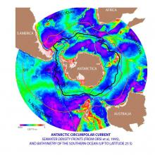 Image of Antarctic Circumpolar Current. Image curtesy of NASA/JPL-Caltech