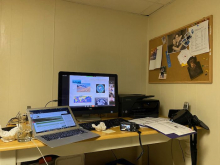 "My desk for virtual training in my basement, which has been nicknamed ""Boulder"" for the week."