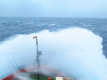 Waves crashing the bow of the RV Nathaniel Palmer. Photo by Jillian Worssam (PolarTREC 2014), Courtesy of ARCUS