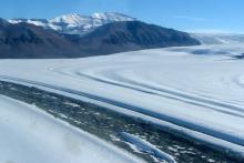 Flying low over the Shackleton Glacier