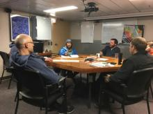 """The R/V Sikuliaq """"lounge"""" on calmer days during a meeting.  August 2017.  Photo by Lisa Seff."""